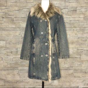 New Caro denim coat with faux-fur trim